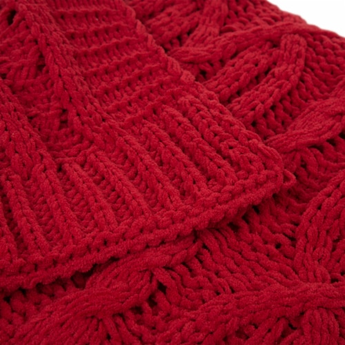 Glitzhome Knitted Chenille Fabric Throw Blanket - Red Perspective: top
