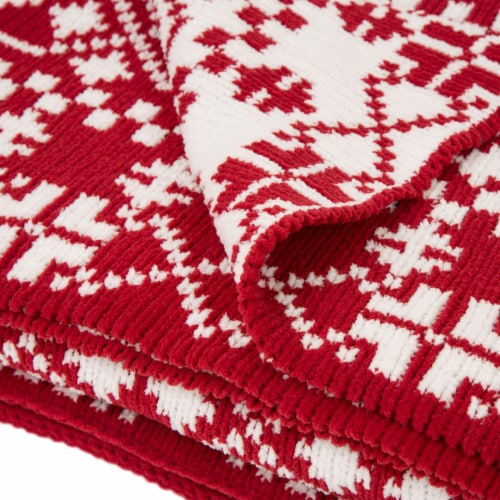 Glitzhome Knitted Snowflake Polyester Throw Blanket - Red/White Perspective: top