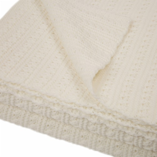 Glitzhome Classic Knitted Acrylic White Throw Blanket Perspective: top