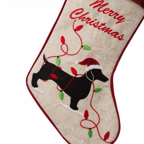 Glitzhome Dachshund Christmas Stocking Perspective: top