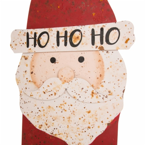 Glitzhome Rusty Metal Christmas Santa Standing Porch Decor Perspective: top