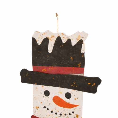 Glitzhome Rusty Metal Christmas Snowman Porch Sign Decor Perspective: top