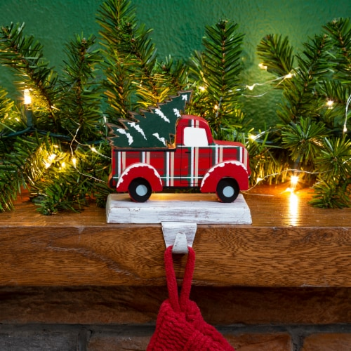 Glitzhome Truck Christmas Stocking Holder - Red/Green Perspective: top