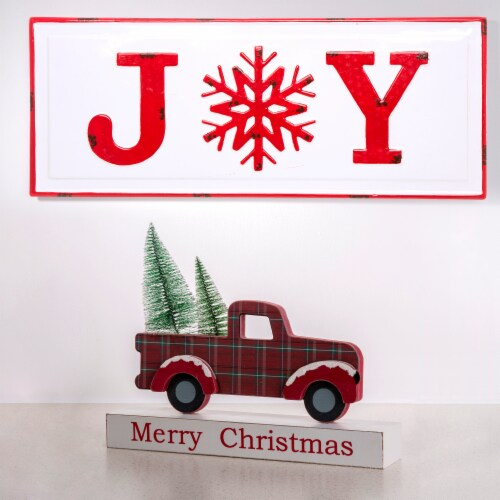 Glitzhome Wooden/Metal Merry Christmas Truck Table Decor - Red Perspective: top