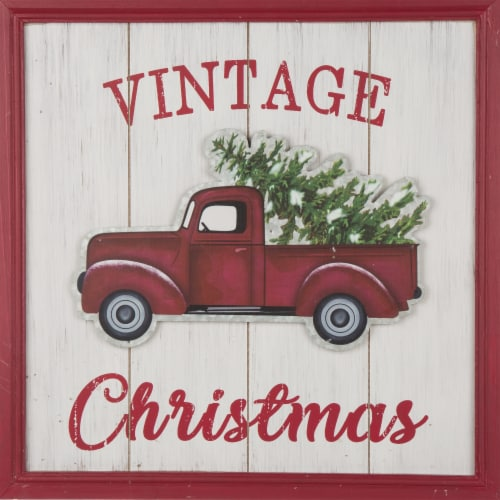 Glitzhome Wooden Red Truck Christmas Wall Decoration Perspective: top