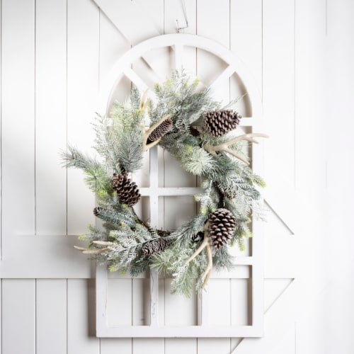 Glitzhome Wooden Window Frame & Flocked Pinecone & Antler Wreath Perspective: top