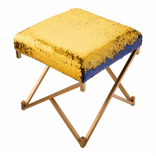 Glitzhome Shimmering Sequin Stool - Sapphire Blue / Metal Gold Perspective: top