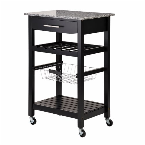 Glitzhome Rolling Kitchen Island with Marble Top - Black Perspective: top