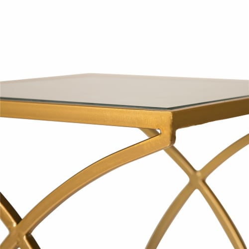 Glitzhome Square Metal with Glass Accent Table - 2 pk - Gold Perspective: top
