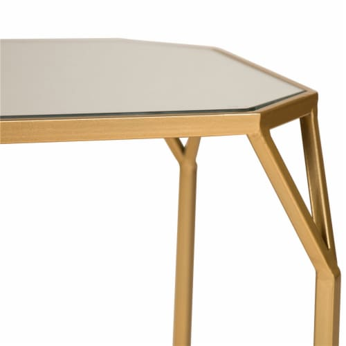 Glitzhome Metal with Glass Square Accent Table - Gold Perspective: top