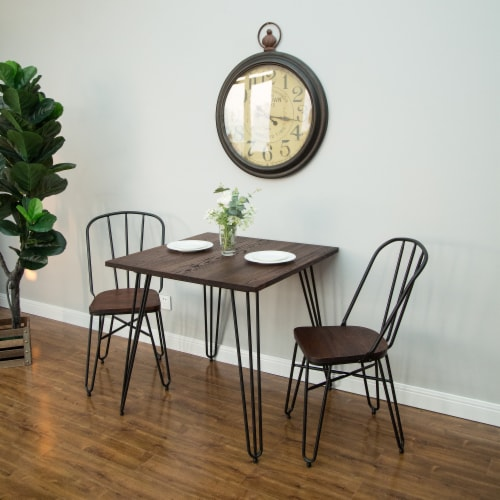 Glitzhome Industrial Steel & Elm Wood Dining Set Perspective: top