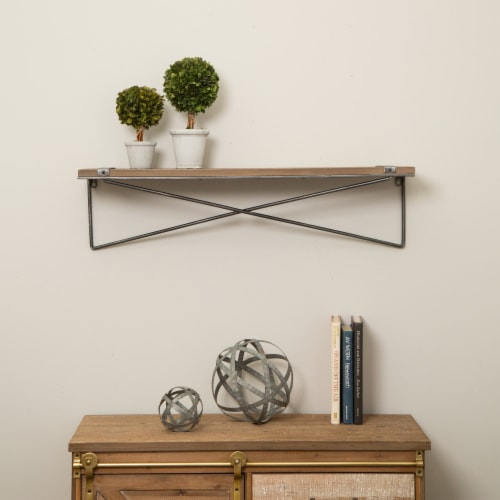 Glitzhome Rustic Farmhouse Large Metal/Wooden Wall Shelf Perspective: top