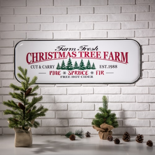 Glitzhome Farmhouse Enameled Metal Christmas Tree Wall Sign Perspective: top