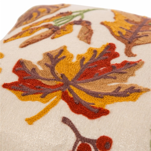 Glitzhome Fall Embroidered Leaves Pillow Cover Perspective: top