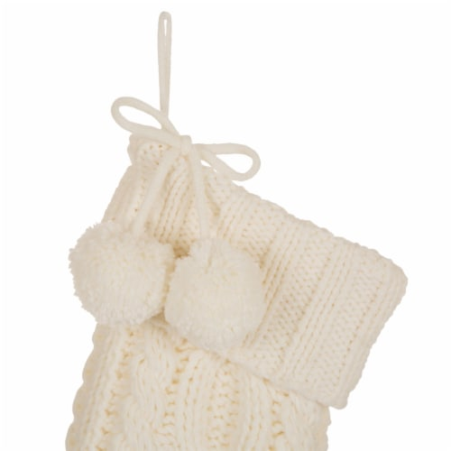 Glitzhome Knitted Christmas Stocking with Pom Poms - White Perspective: top
