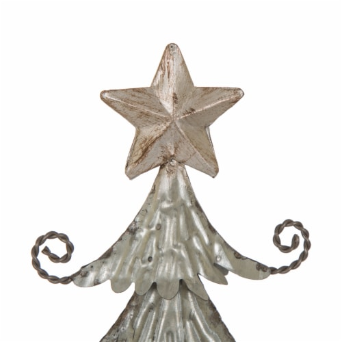 Glitzhome Wood and Galvanized Metal Christmas Tree Decor - Silver Perspective: top