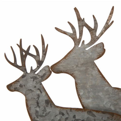 Glitzhome Galvanized Metal and Wooden Reindeer Table Decor - Silver Perspective: top