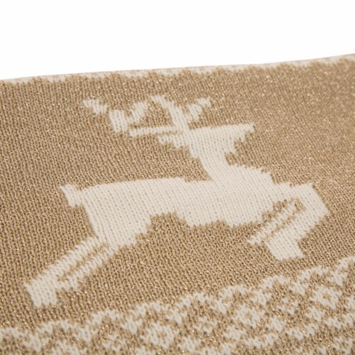 Glitzhome Knitted Acrylic Lurex Tassel Throw Blanket - Beige Gold Perspective: top