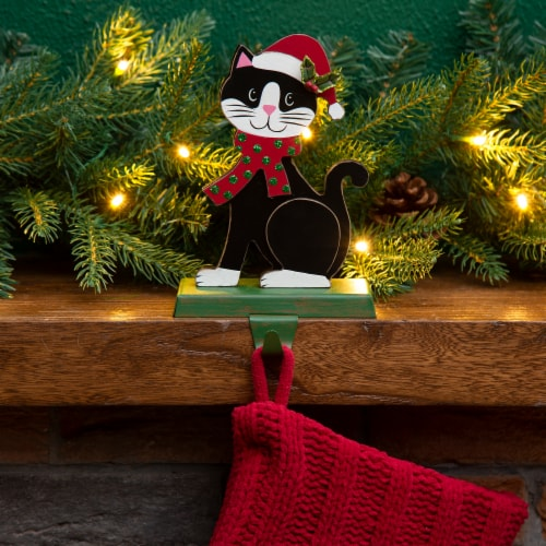 Glitzhome Cat Weighted Christmas Stocking Holder Perspective: top