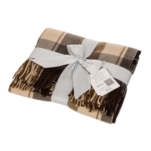 Glitzhome Acrylic Plaid Woven Tassel Throw Blanket Perspective: top
