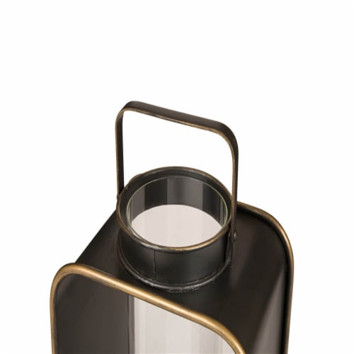 Glitzhome Industrial Metal Candle Lantern Home Decoration - Brown Perspective: top