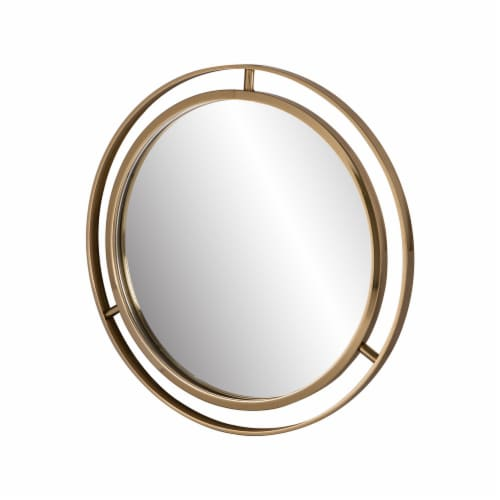 Glitzhome Medium Deluxe Metal Round Classic Wall Mirror - Gold Perspective: top