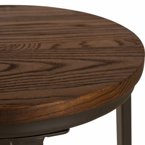Glitzhome Rustic Steel and Elm Wood Bar Stool - Coffee Perspective: top