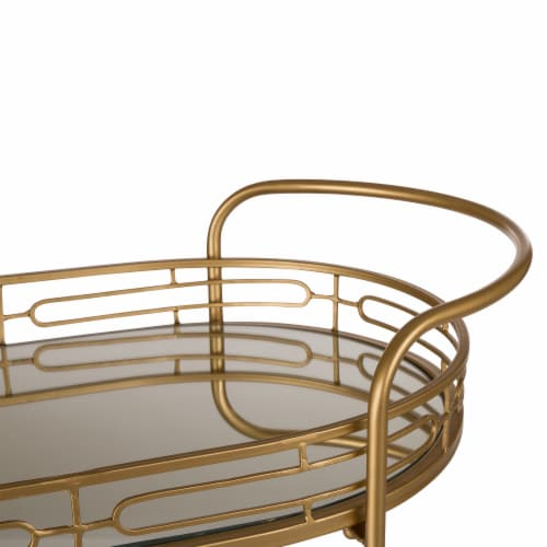 Glitzhome Deluxe Metal Oval Mirrored Bar Cart with 2 Shelves Perspective: top
