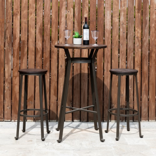 Glitzhome Rustic Steel with Elm Wood Pub Set Perspective: top