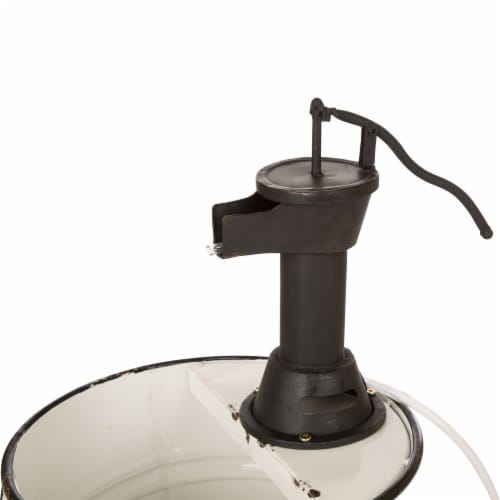 Glitzhome Farmhouse Metal Enamel Two Tier Fountain With Pump - White Perspective: top
