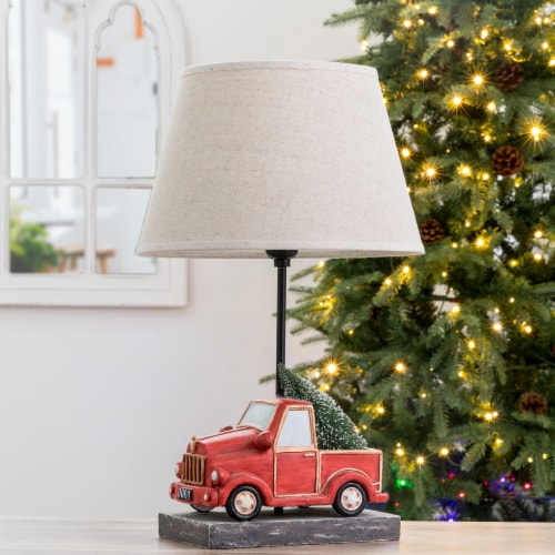Glitzhome Christmas Truck Table Lamp with Burlap Shade Perspective: top