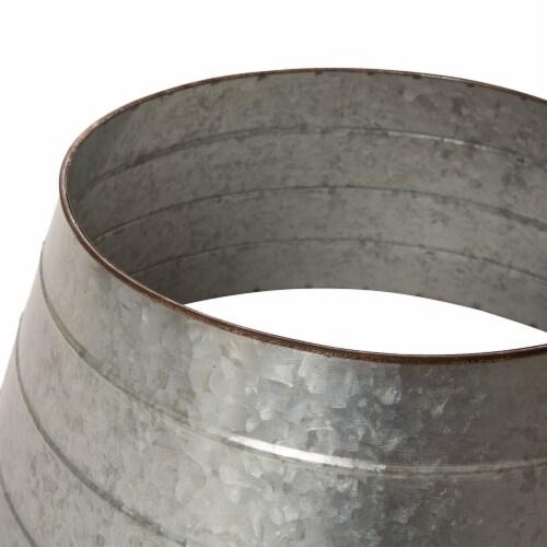Glitzhome Galvanized Metal Tree Collar - Silver Perspective: top