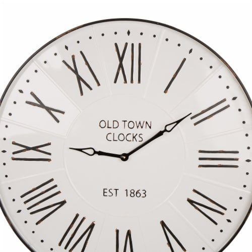 Glitzhome Oversized Farmhouse Metal Enamel Wall Clock - White Perspective: top