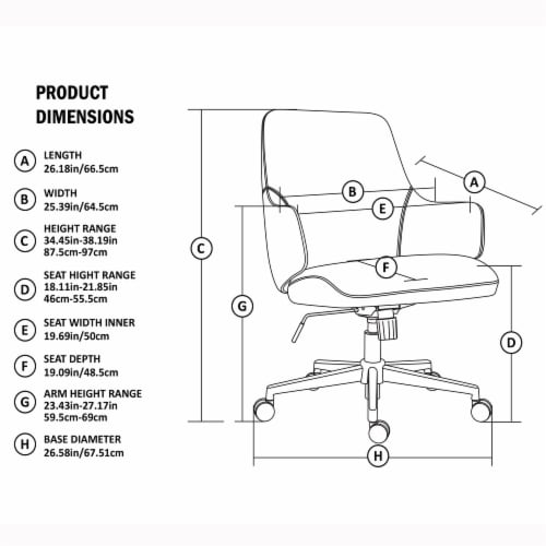 Glitzhome Mid-Century Modern Bonded Leather Gaslift Adjustable Swivel Office Chair - Cream Perspective: top