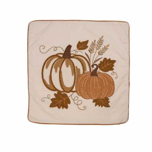 Glitzhome Cotton Embroidered Pumpkin Pillow Cover Perspective: top