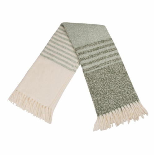 Glitzhome Woven Acrylic Striped Jacquard Tassel Throw Blanket Perspective: top