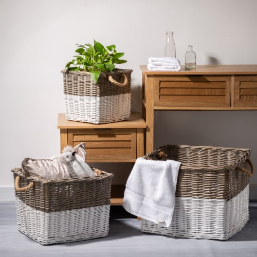 Glitzhome Square Willow Baskets with Rope Handles - Natural/White Perspective: top