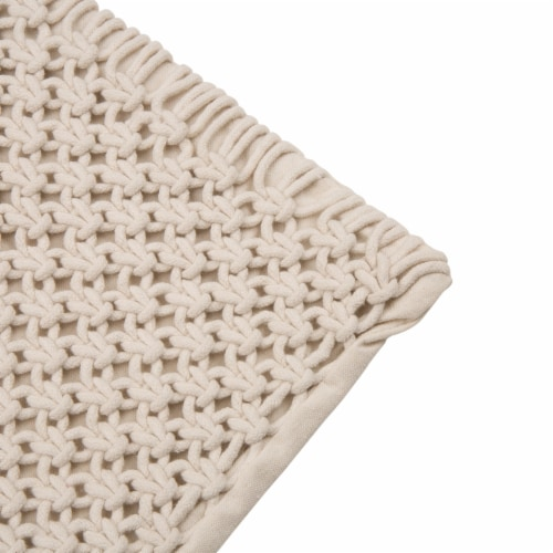 Glitzhome Diamond Handmade Rope Woven Pillow Cover Perspective: top