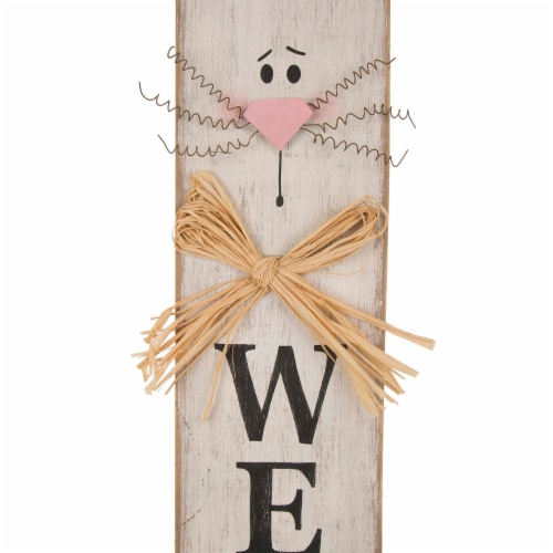 Glitzhome Easter Bunny Ear Wooden Welcome Porch Sign Perspective: top