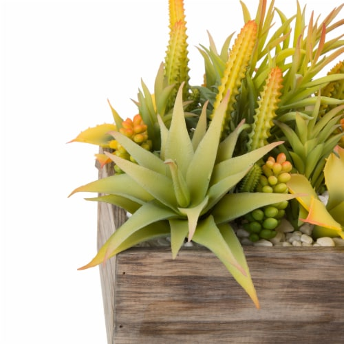 Glitzhome Faux Succulent Plants in Sophisticated Wooden Box Perspective: top
