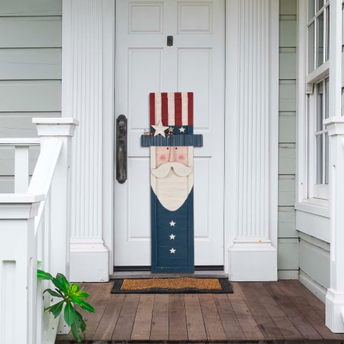 Glitzhome Wooden Patriotic Uncle Sam Hanging Porch Sign Perspective: top