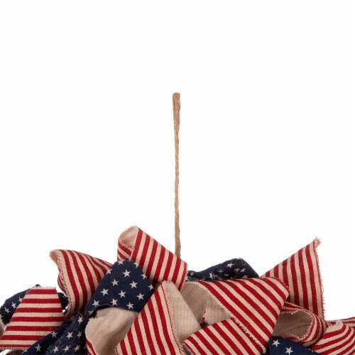 Glitzhome Fabric Patriotic Stripes & Stars Wreath Perspective: top