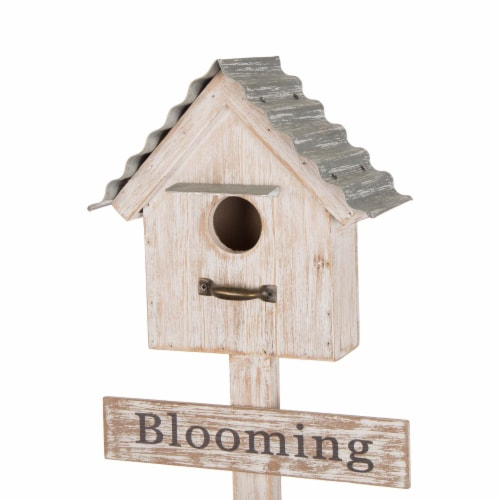 Glitzhome Galvanized Farmhouse Metal Planter with Bird House Perspective: top