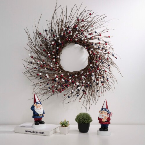 Glitzhome Patriotic Berry Wreath Perspective: top