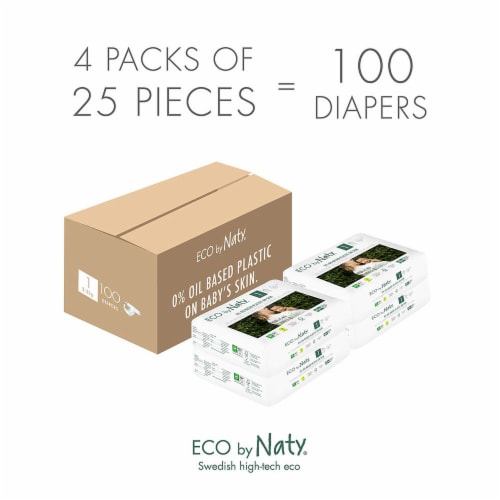 Eco by Naty Size 1 Disposable Diapers 100 Count Perspective: top