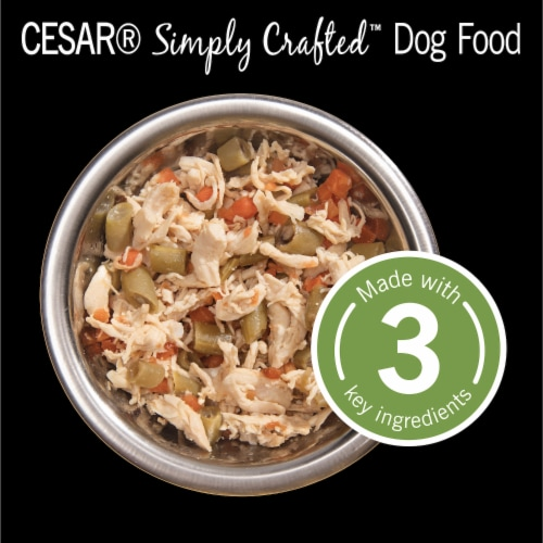 Cesar Simply Crafted Chicken Carrots & Green Beans Wet Dog Food Perspective: top