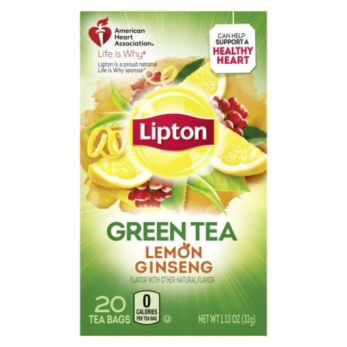 Lipton Lemon Ginseng Green Tea Bags Perspective: top