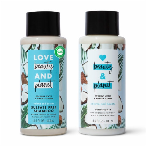 Love Beauty & Planet Sulfate-Free Coconut Water & Mimosa Flower Shampoo & Conditioner for Fine Hair Perspective: top