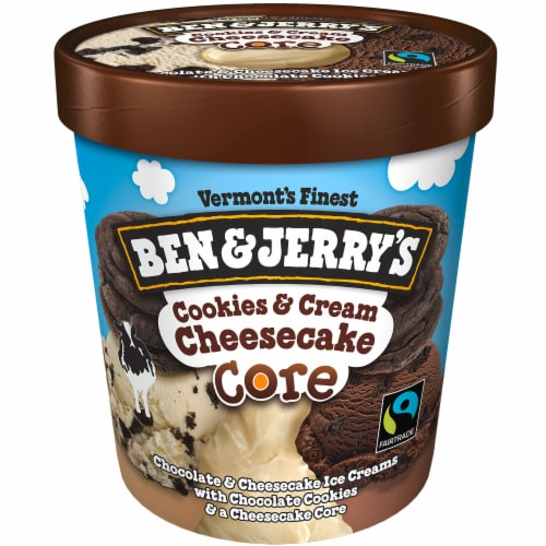 Ben & Jerry's Cookies & Cream Cheesecake CORE Ice Cream Perspective: top