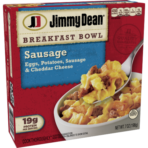Jimmy Dean Sausage Egg & Cheese Breakfast Bowl Frozen Entree Perspective: top
